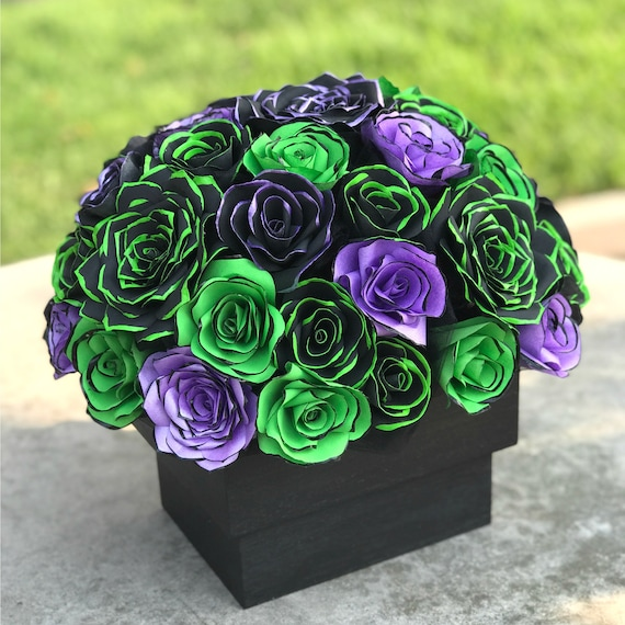 Centerpiece in Black & Lime Green and Purple Handcrafted Paper Flowers for a Wedding or Event Table - customizable colors