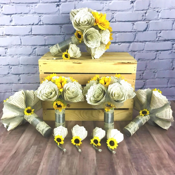 Paper book page and sunflower wedding bouquet package - Quantity & Ribbon colors are customizable