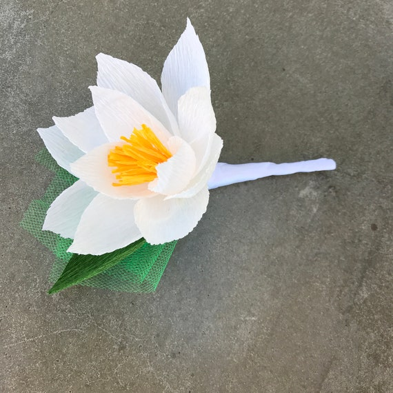 Water lily boutonniere for Wedding or Events in Many Color Choices