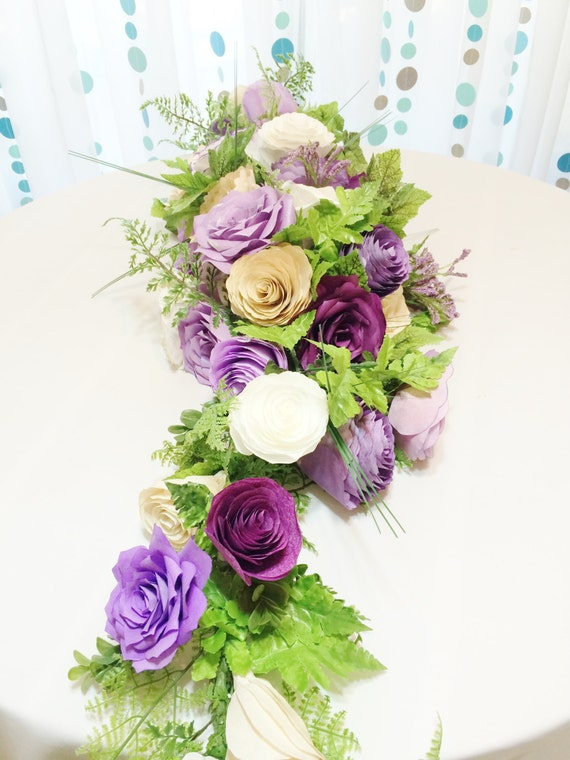 Floral garland or table runner in shades of purple