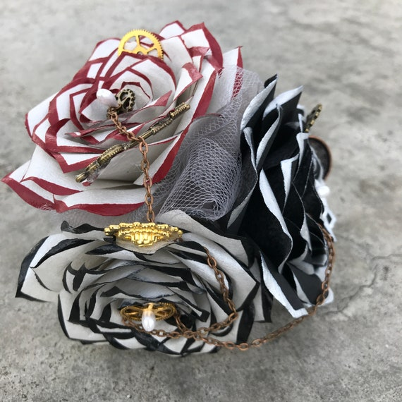 Steampunk corsage in silver, red & black handcrafted paper flowers - Colors are customizable