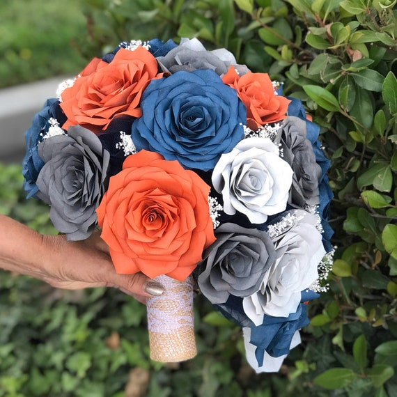 Teardrop Bridal Bouquet in Burnt Orange, Navy blue and Shades of Gray Paper Roses