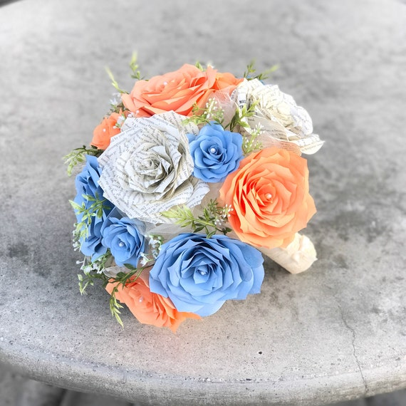 Peach & Blue Wedding Bouquet - Bridal bouquet using paper filter flowers and book page roses - Color choices