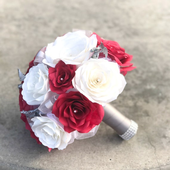Red and white paper rose dragon bridal bouquet - Customizable colors
