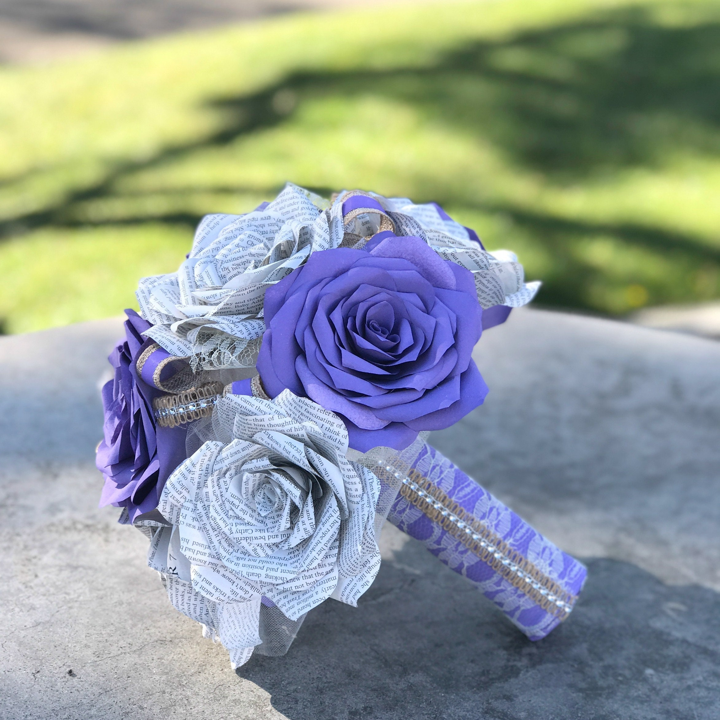 Paper Book Page Wedding Bouquet Using Handmade Lavender Filter