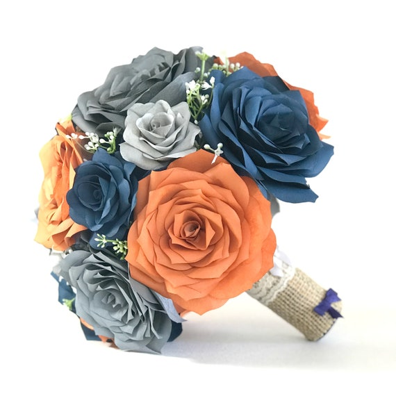 Bridal Bouquet shown in Burnt Orange, Navy blue and Gray Paper Roses but colors are customizable