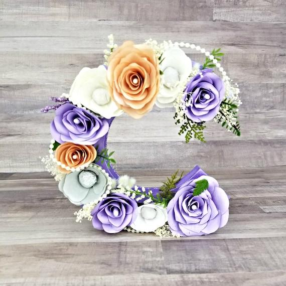 Flower letter - Lavender floral letter - flower letters - flower number - floral nursery decor - floral initial decoration