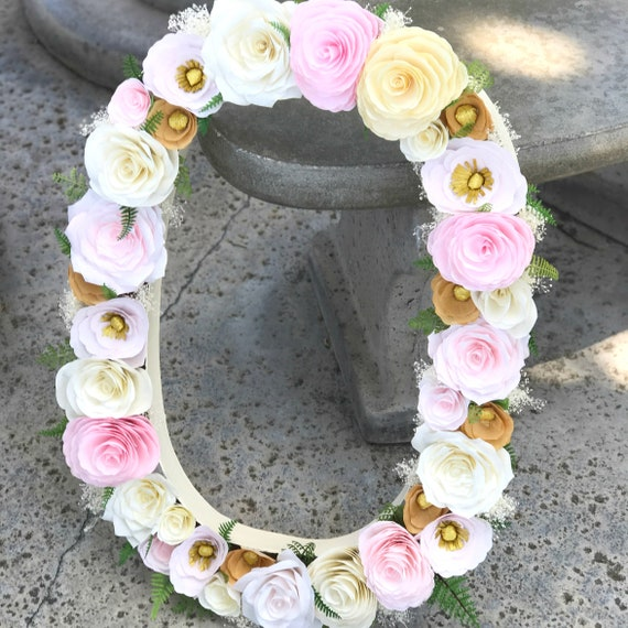 """23"""" Paper mache floral letter in blush, pink & gold paper flowers"""