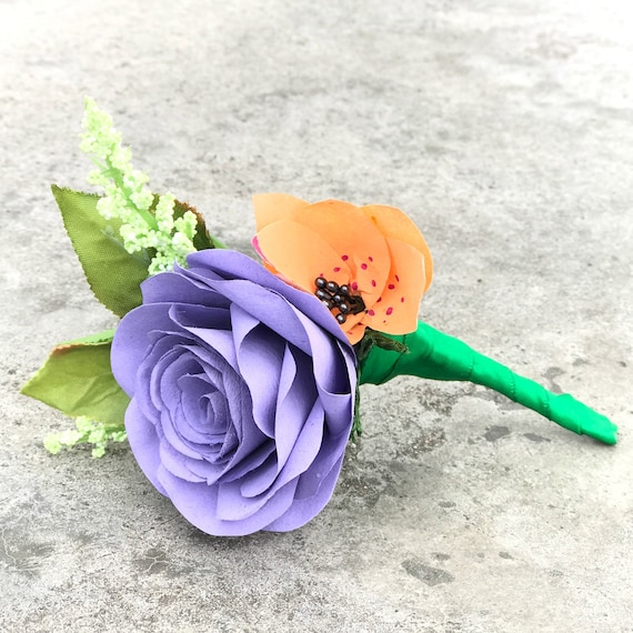 Boutonniere - Coffee Filter Paper Flower Boutonniere for Wedding or Events - Customizable colors