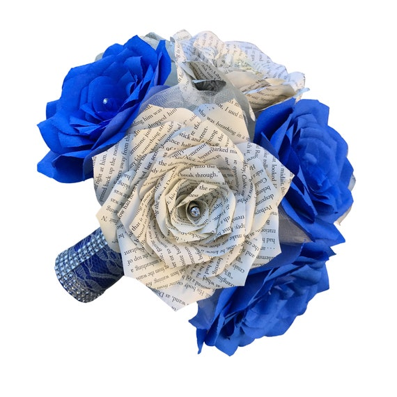 Book page & filter paper rose bouquet in blue - Colors are customizable - Alternative handmade bouquet