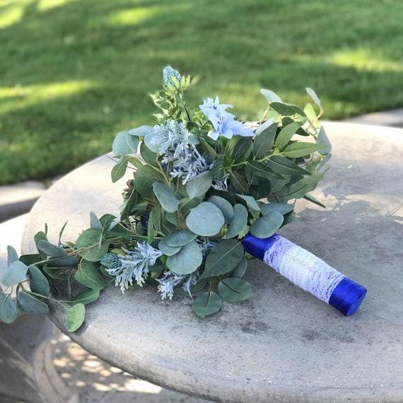 Silk bouquet - Greenery & succulent bridal bouquet