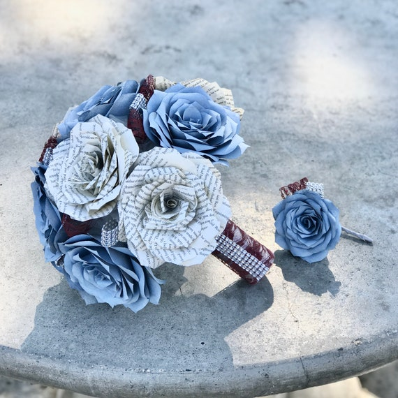 Book page and filter paper rose wedding bouquet shown in dusty blue - Colors are customizable