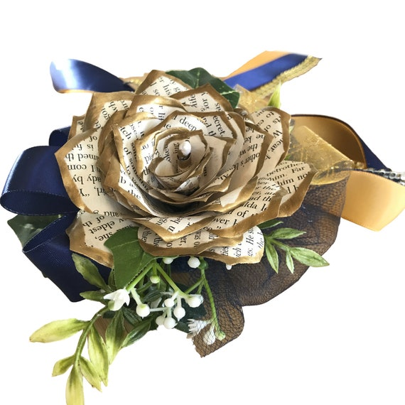 Gold tipped book page paper flower wrist corsage in customizable colors