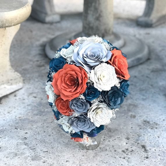 Cascading Bridal Bouquet in Burnt Orange, Navy blue, Book Page and  Shades of Gray Paper Roses