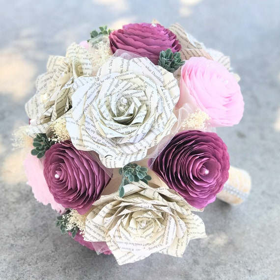 Peony and book page paper bridal bouquet - Customizable colors