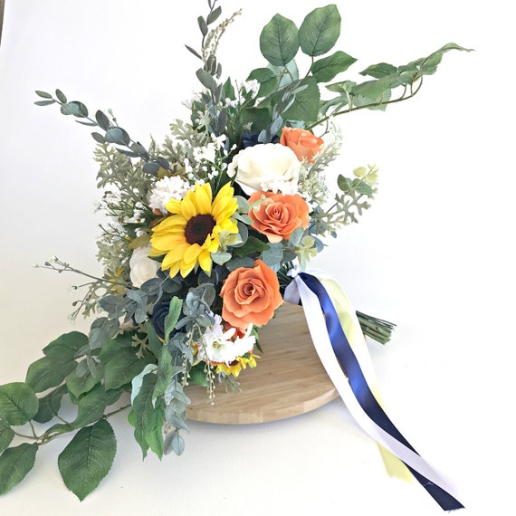 Sunflower Bridal Bouquet in Navy, Yellow and Orange Paper and Silk Flowers - Micro wedding