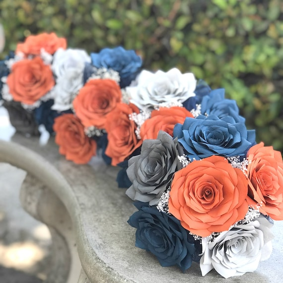 Wedding bouquet package in burnt orange and navy blue paper flowers - Cascading, toss, and 4 bridesmaid bouquets with matching boutonnieres