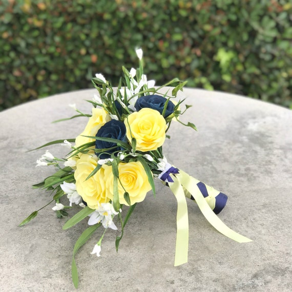 Wedding bouquet in navy blue and yellow filter paper flowers