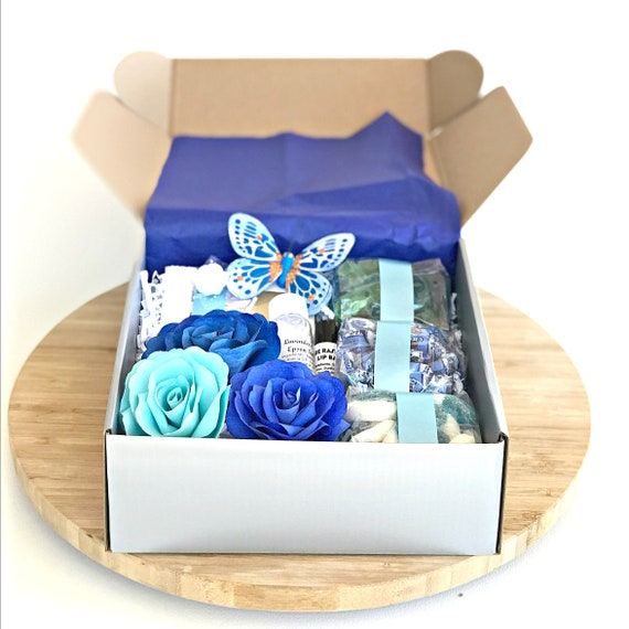 Shades of blue candy and flower gift for women - Bridal party gifts - Bridesmaid gift