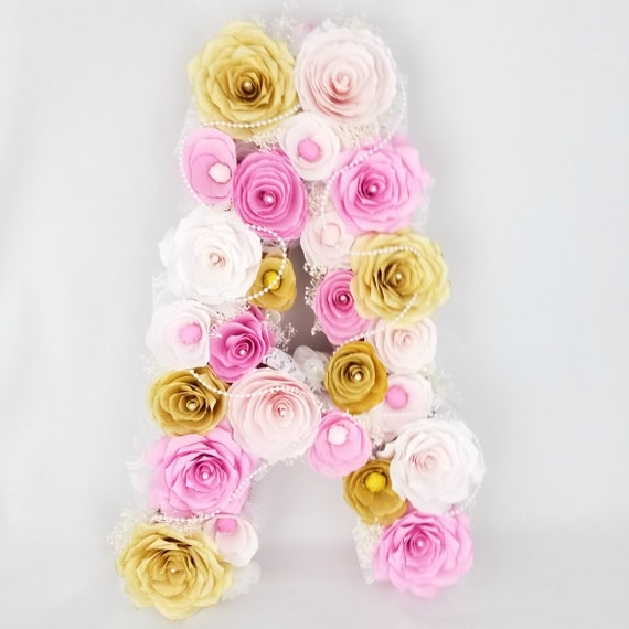 Floral letter - Pearl and lace paper flower letter in pinks and gold