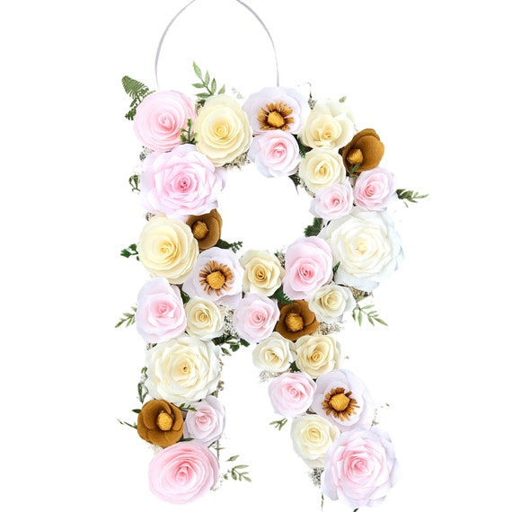 Blush and gold paper flower letter - Nursery decor