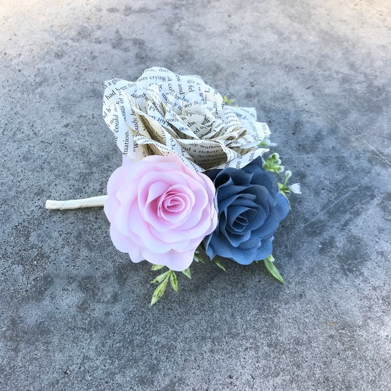 Wedding Boutonniere - Book Page Paper Rose Boutonniere