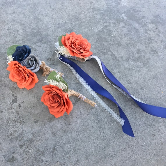 Paper Rose Corsage and/or Boutonnieres - Customizable colors