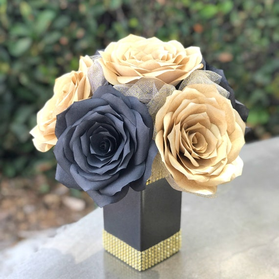 Gold and Black Paper Flower Centerpiece - Table Decor - Roaring 20's Decor
