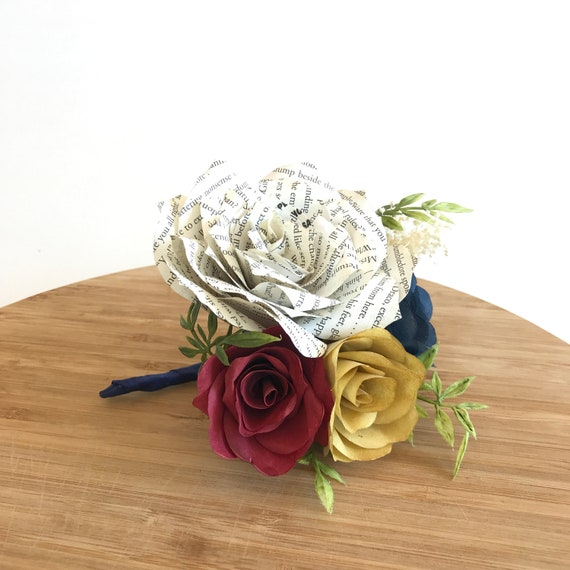 Boutonniere or corsage using paper book page and filter paper flowers - Customizable colors