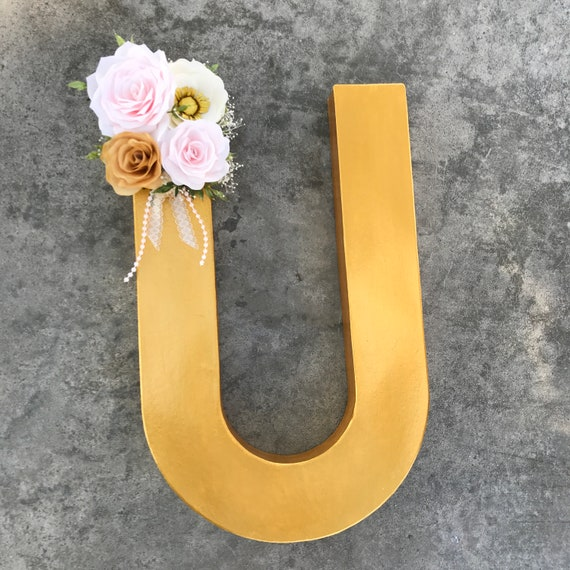 Floral Letter in Blush and gold Paper Flowers - Wedding initial - Nursery decor - Customizable colors