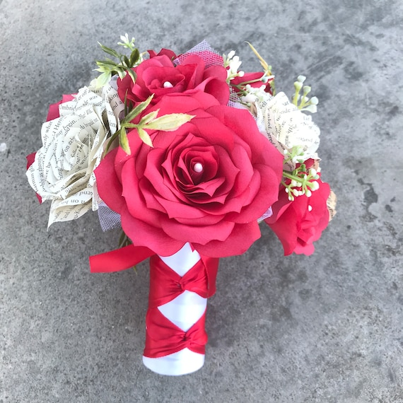 Wedding bouquet shown in red filter flowers and book page roses - Colors are customizable