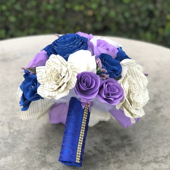 wedding bouquet in blue, white and lavender paper flowers with book page roses - Colors can be customized