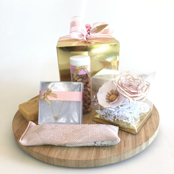 Gold and pink gift box for her - Birthday gift for women