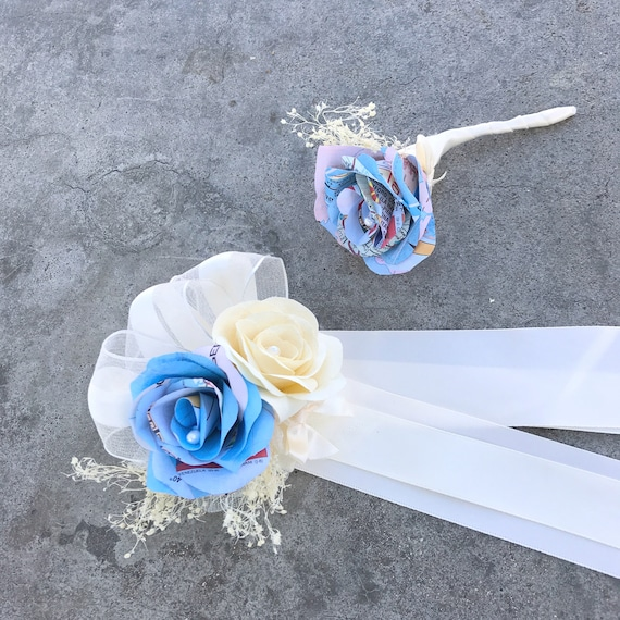 Map Paper Flower Boutonniere and/or Corsage - Wedding boutonniere