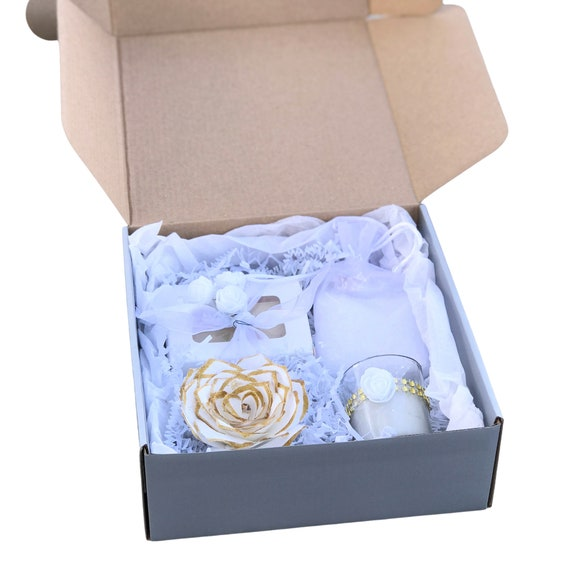 White and Gold Spa gift box - Bridal shower gift - Holiday gift