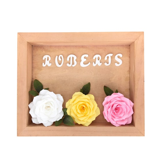 Personalized floral shadow box