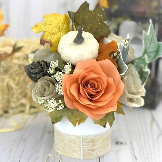 Fall or Thanksgiving Paper Flower Table Centerpiece