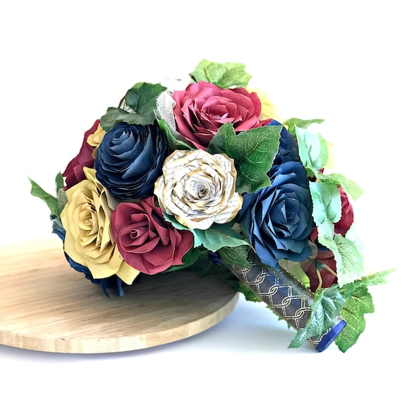 Burgundy, gold and navy blue Cascading paper rose and peony Bridal Bouquet - Customize your colors