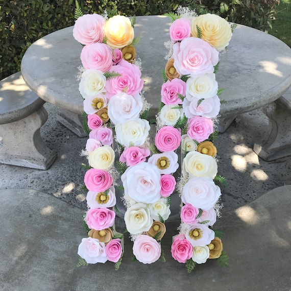 "23"" Paper mache floral letter in blush, pink & gold paper flowers"