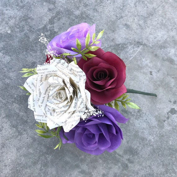 Paper Flower Table Bouquets in burgundy, cream, and purples - Customizable colors
