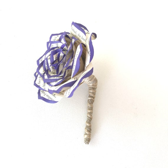 Purple Tipped Book Page Paper Boutonniere