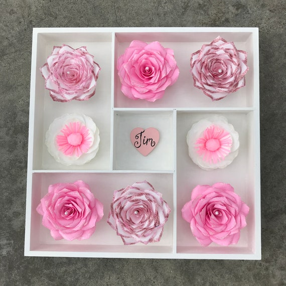 Wall decor using paper flowers - Colors are customizable