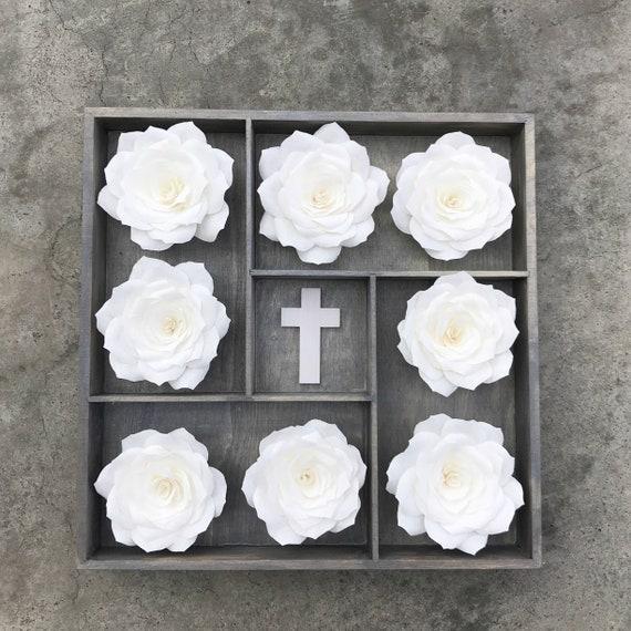 3D flower art - Choose heart, cross or rose center - Customizable colors