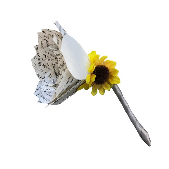 Sunflower Book Page Boutonniere - Ribbon Color is Customizable