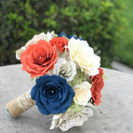 Country Chic Wedding Bouquet in Burnt Orange, Navy blue, Ivory and Book Page Paper Flowers