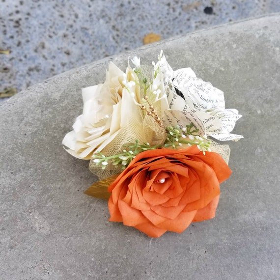 Corsage in Burnt Orange, champagne and Book Page Paper Roses