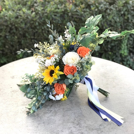 Sunflower Bridal Bouquet in Navy, Yellow and Orange Paper and Silk Flowers