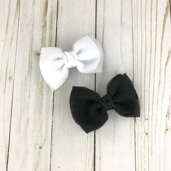5 Ribbon bows - Black or white bows