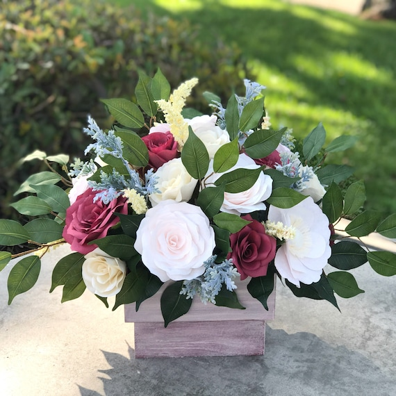 Centerpiece in Blush, Burgundy and Champagne Paper Flowers - Wedding Decor - Colors Are Customizable