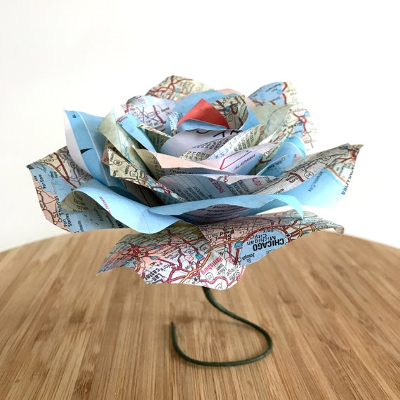 Map Paper Rose - Paper flower